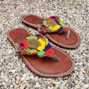 African Beaded Leather Sandals:  EU 37 ( US 6-7 ) Bright, Bold Patterns