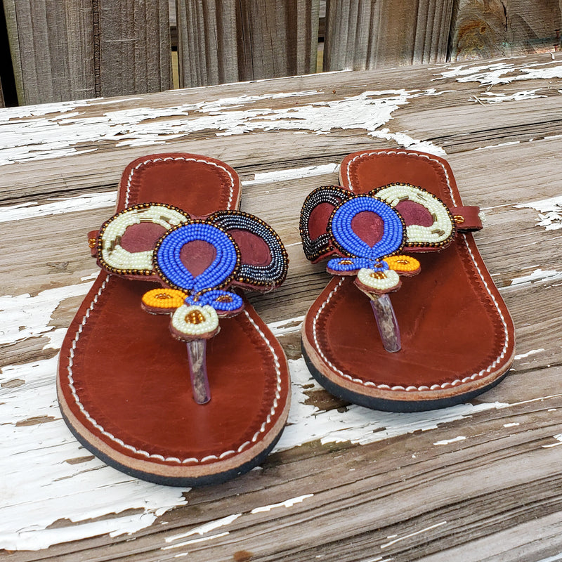 African Beaded Leather Sandals:  EU 39 ( US 8-9 )  Bright, Bold Patterns
