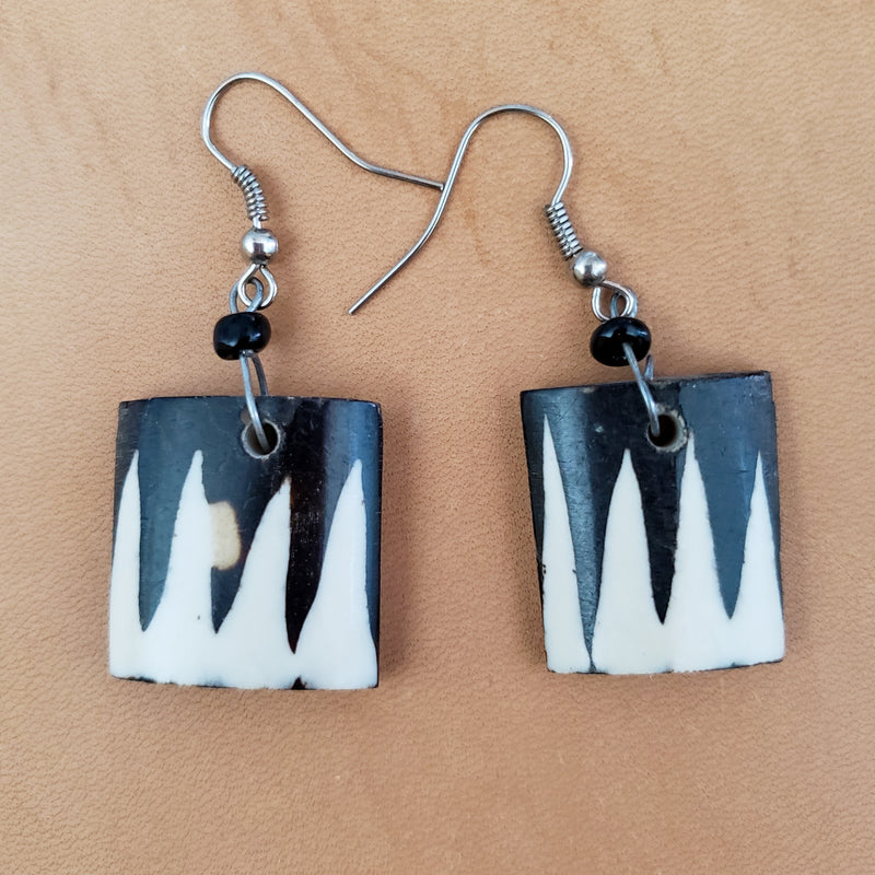 Wood & Bone Block Earrings