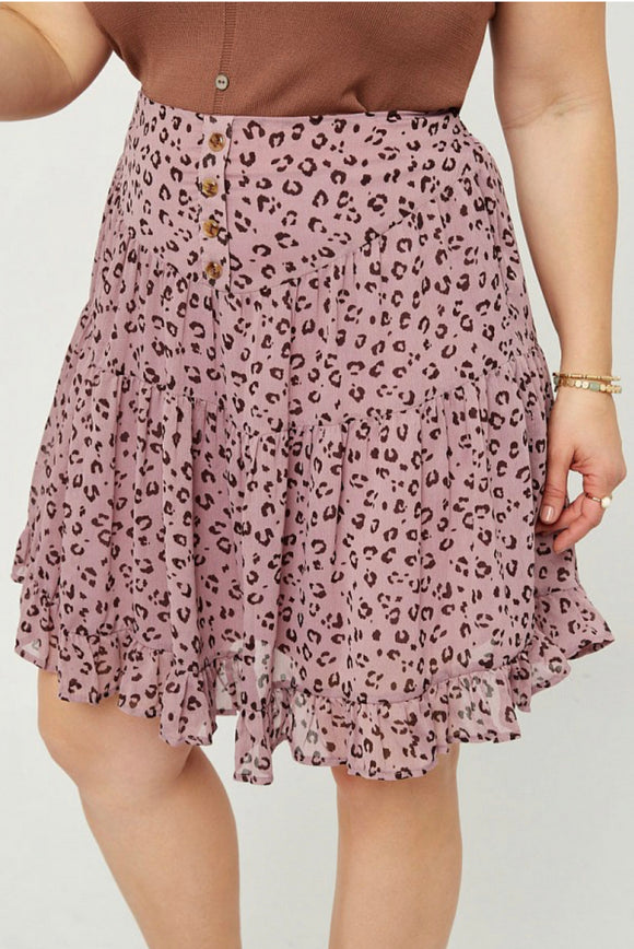 Plus - Leopard Ruffle Skirt
