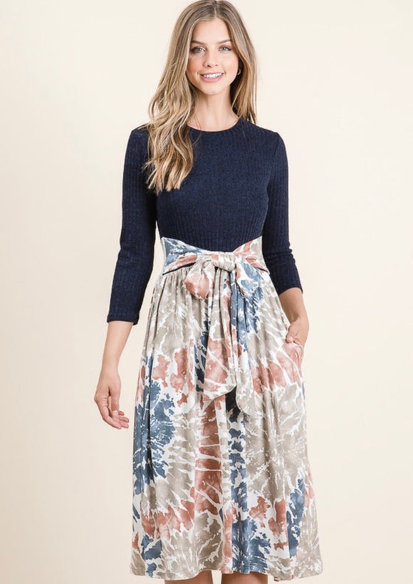 Navy - Tie Dye Midi Dress