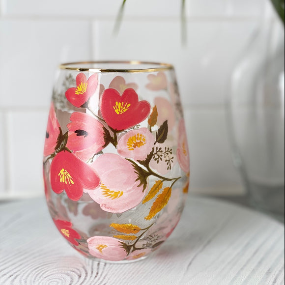 Mary Square Wine Glass - Pink Floral