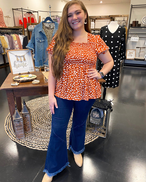 Plus - Rust Spotted Smocked Top