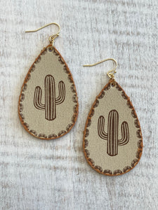 Leather Cactus Earrings