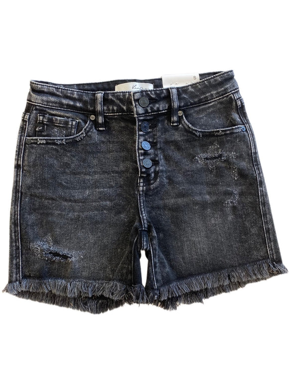 Kan Can High Rise Distressed Jeans - Black