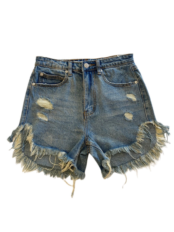 Signature 8 High Rise Distressed Shorts - Med Wash