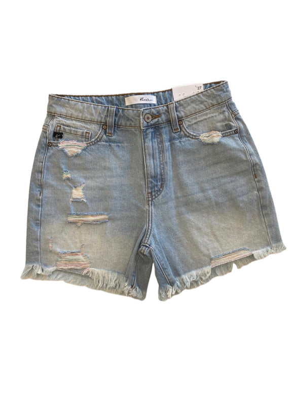 Kan Can High Rise Rainbow Thread Jean Shorts - Light Wash