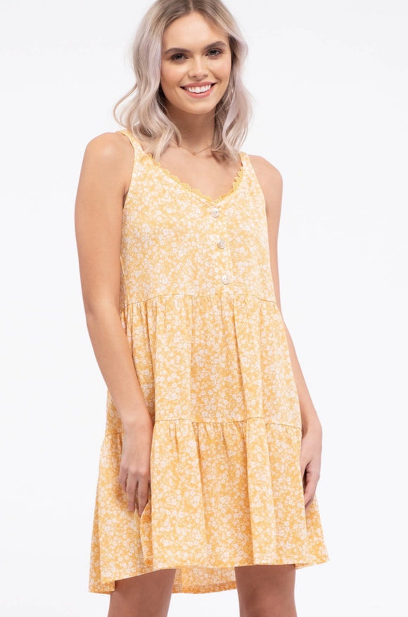 Floral Tiered Dress - Honey Yellow
