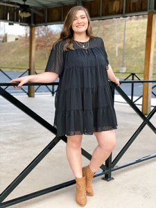 Plus - Black Swiss Dot Tiered Dress