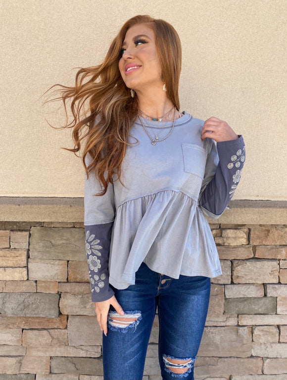 Peplum Embroidered Top