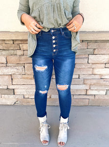 High Waisted Skinny Distressed Jeans