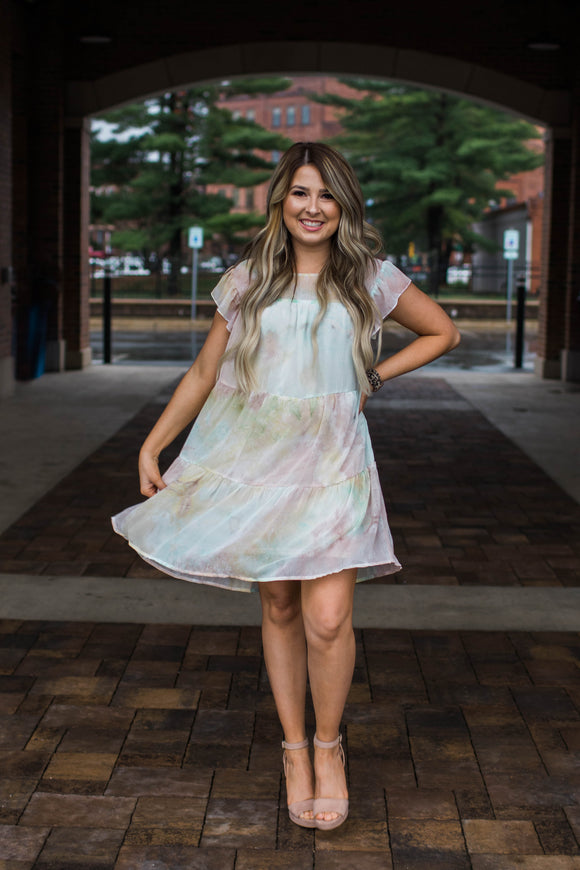 Watercolor Tiered Dress