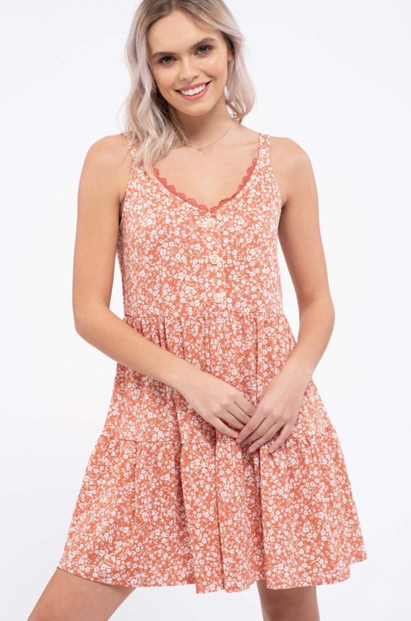 Floral Tiered Dress - Dusty Apricot