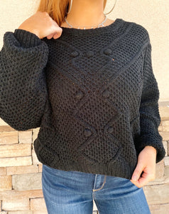 Chenille Pom Sweater (Black)