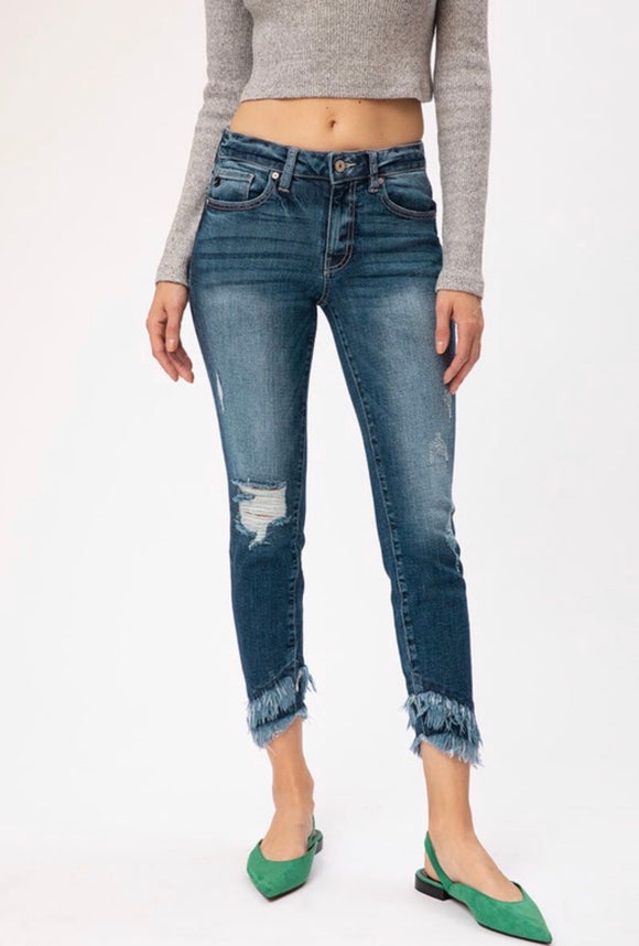 Kan Can Dark Wash Double Frayed Jeans - Mid Rise