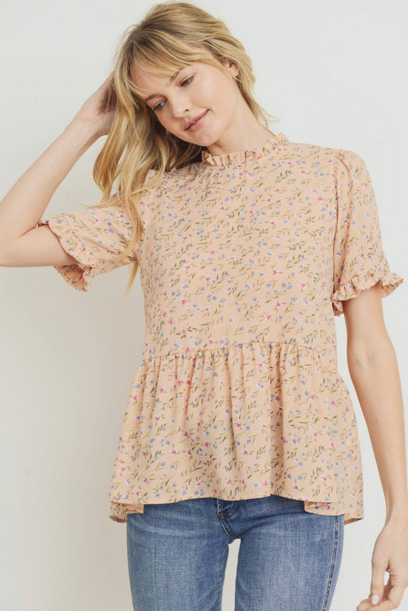 Peach Mock Neck Floral Peplum Top