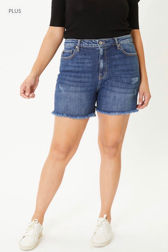 Plus - Kan Can High Rise Dark Wash Jean Shorts