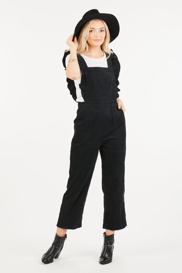 Corduroy Ruffle Jumpsuit (Black & Brown)