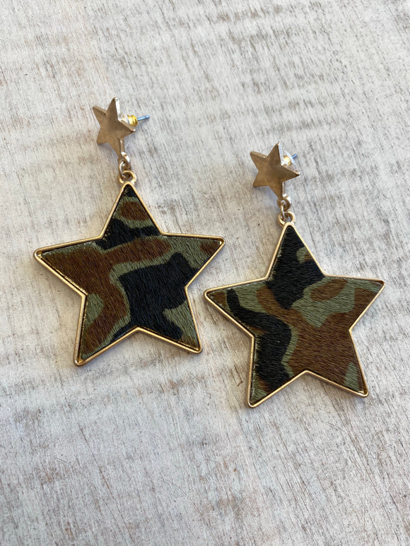 Camo Print Star Earrings
