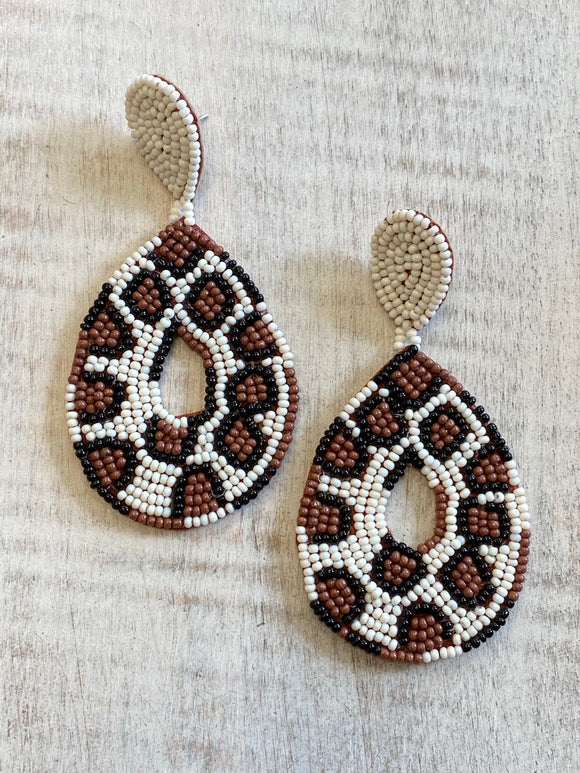 Beaded Leopard Statement Earrings