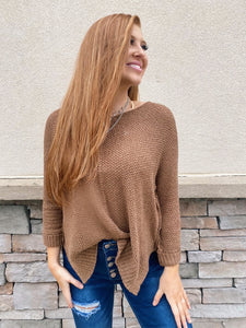 Casual Knit Sweater - Brick