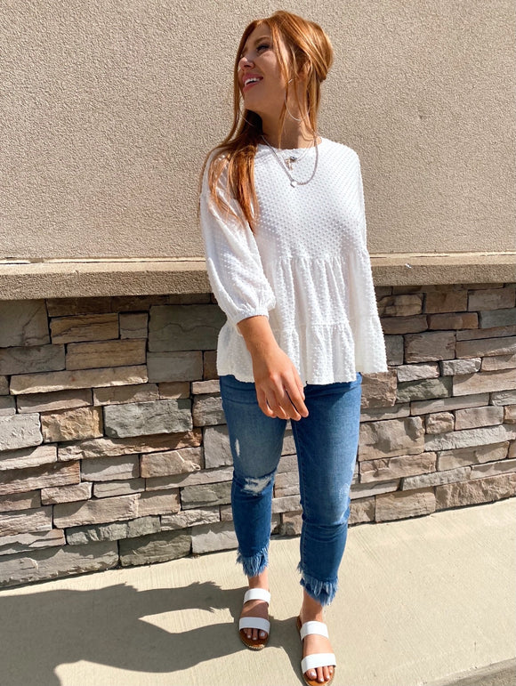 Swiss Dot Tiered Flowy Top - Off White