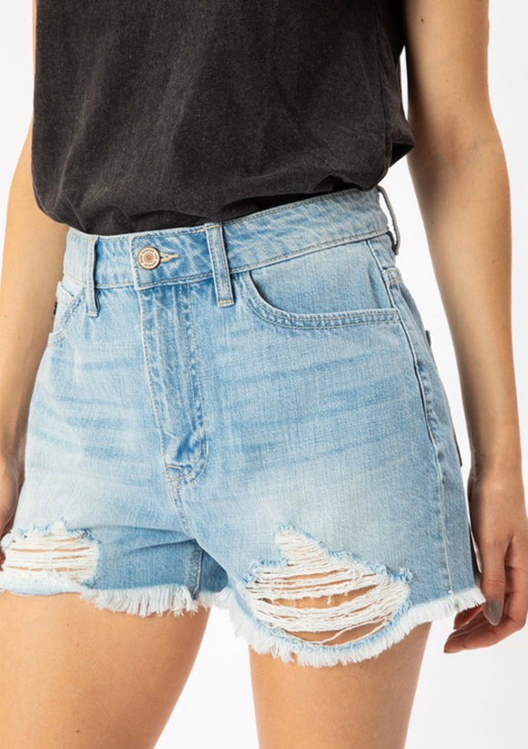 Kan Can High Rise Distressed Shorts - Light Wash