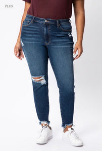 Plus - Kan Can High Rise Distressed Ankle Jeans