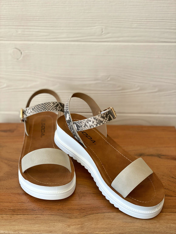 Soda Snakeskin & Taupe Wedge Sandals