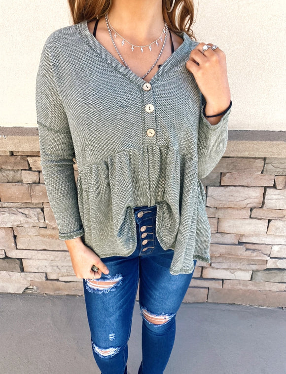 Green Knit Button Down Top
