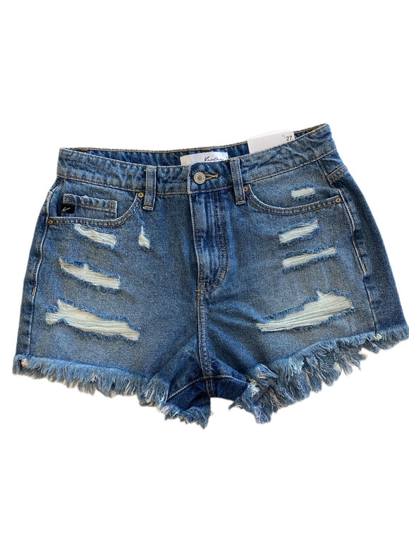 Kan Can Distressed High Rise Jean Shorts - Med Wash