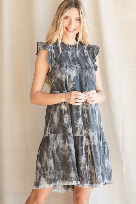 Tie Dye Ruffle Sleeve Tiered Dress