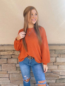 Waffle Knit Balloon Sleeve Top - Rust
