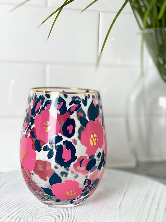 Mary Square Wine Glass - Blue Leopard/Floral