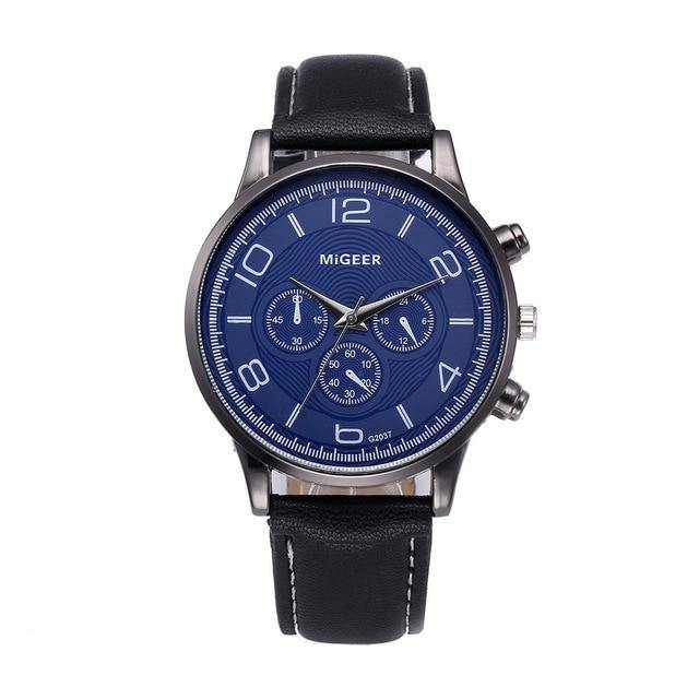 Blue Fashion Watch With Leather Strap - watch-yes