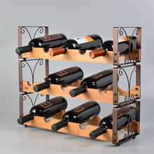 Load image into Gallery viewer, Beautiful Metal & Wood Stack-able Wine Rack