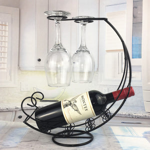 Single Bottle Holder & Glass Rack