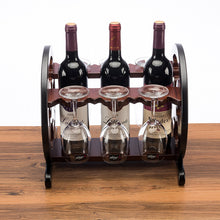 Load image into Gallery viewer, 3 Bottle Wine Rack & 6 Wine Glass Holder