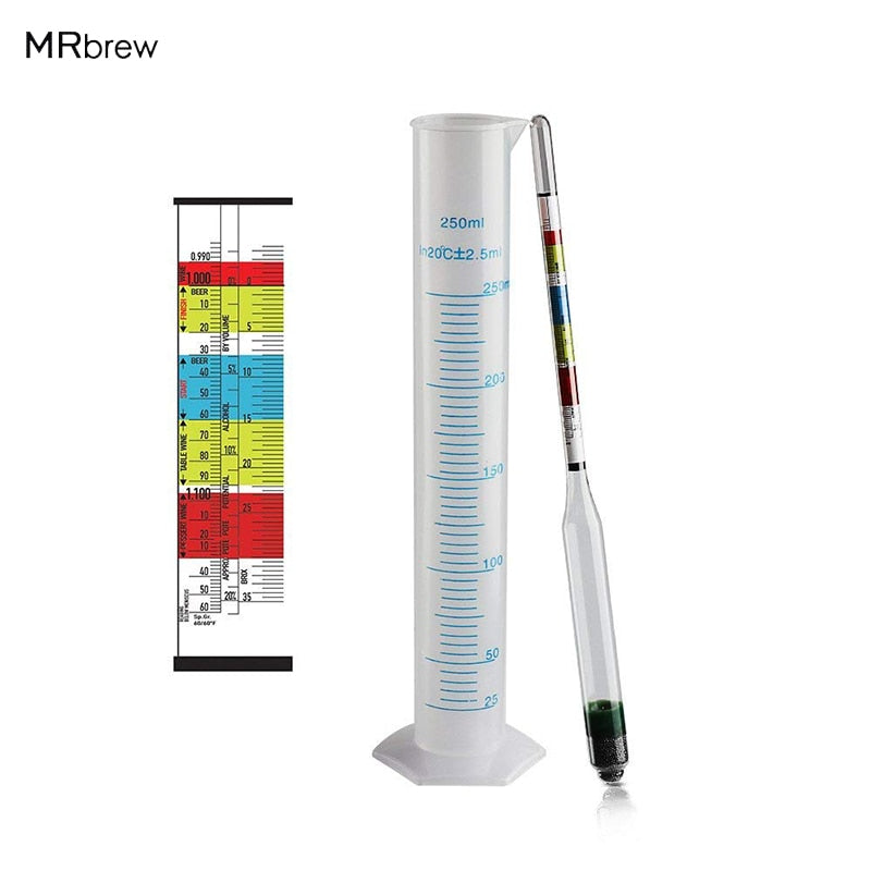 Triple Scale Hydrometer for Beer / Wine Home Brewing Making 3 Scale hydrometer + 250ml Graduated Measuring Cylinder