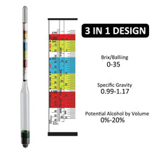 Load image into Gallery viewer, Triple Scale Hydrometer for Beer / Wine Home Brewing Making 3 Scale hydrometer + 250ml Graduated Measuring Cylinder