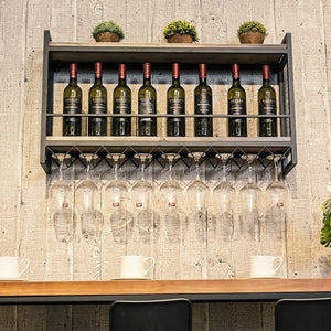 Strong Wall Hanging Wine Rack With Glass Rack