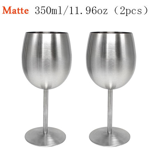 2PCS 350ml Stainless Steel Wine Glass