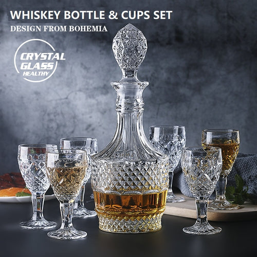 Crystal Whiskey Decanter & Glass Set