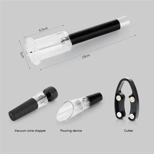 4 Pcs Wine Opener Set, Air Pressure Pump, Decanter & Foil Cutter