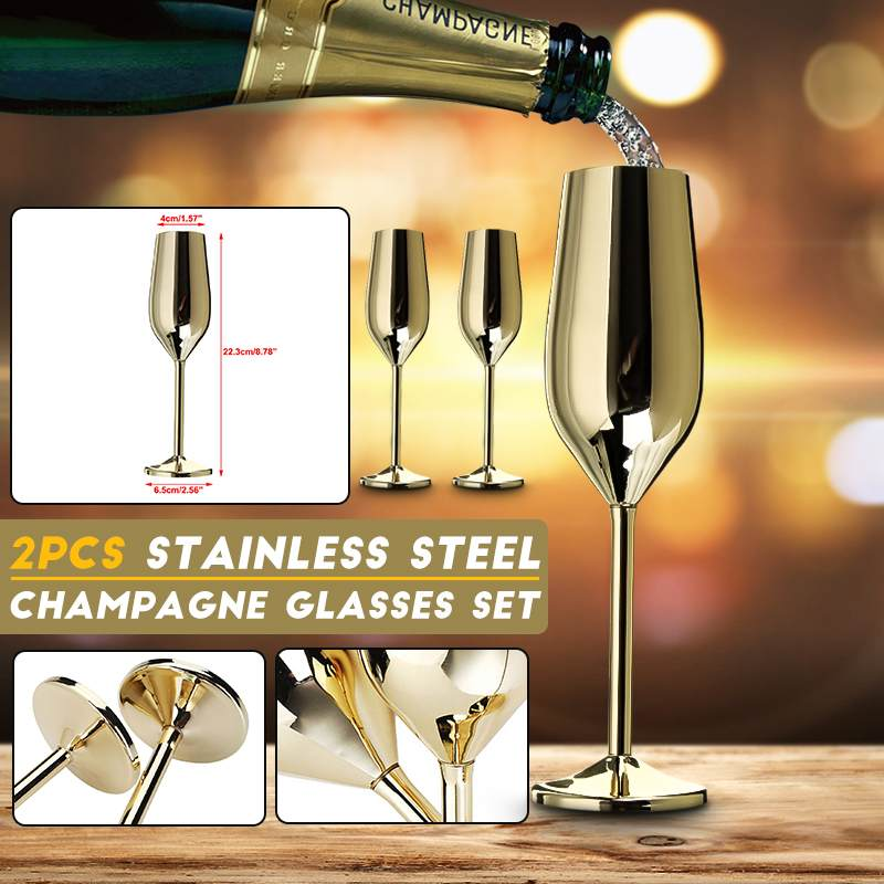 2Pcs/set Stainless Champagne Flute