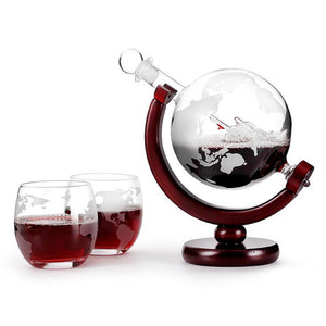 Globe Decanter with Accompanying Glasses