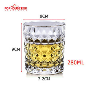 Pointed Pattern Whiskey Glass