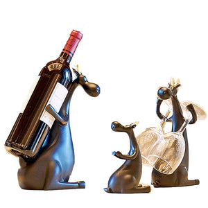 Deer Family Wine Bottle & Glass Holder