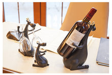 Load image into Gallery viewer, Deer Family Wine Bottle & Glass Holder