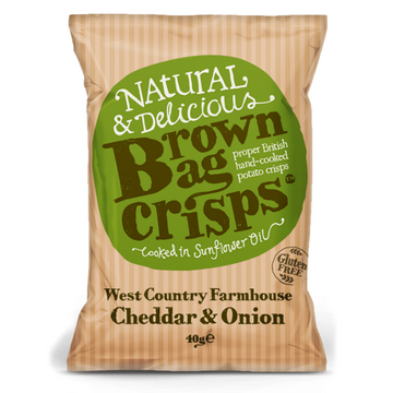 Brown Bag Cheddar & Onion Crisps - 20 x 40g - Food Republic Services Ltd.